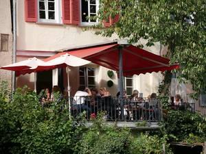 Wunderschöne Aussicht im Eiscafé La Dolce Vita in Tübingen